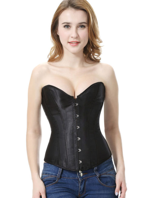 Everbellus Black Satin Sexy Strong Boned Corset Lace Up Bustier Top B1 1