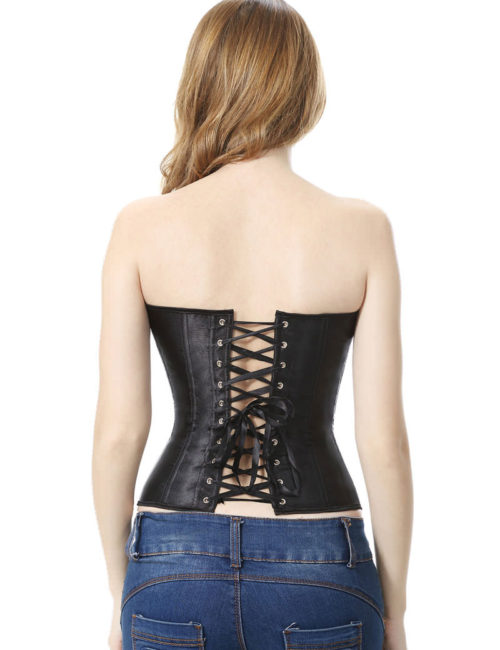 Everbellus Black Satin Sexy Strong Boned Corset Lace Up Bustier Top B3