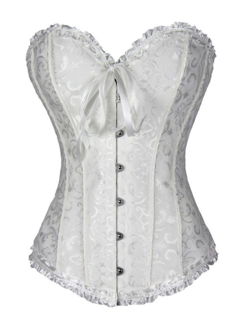 Everbellus Sweetheart Overbust Satin Lace Boned Corset Bustier W4