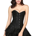 Everbellus Womens Sexy Overbust Wedding Waist Corset Satin Bustiers Top B1