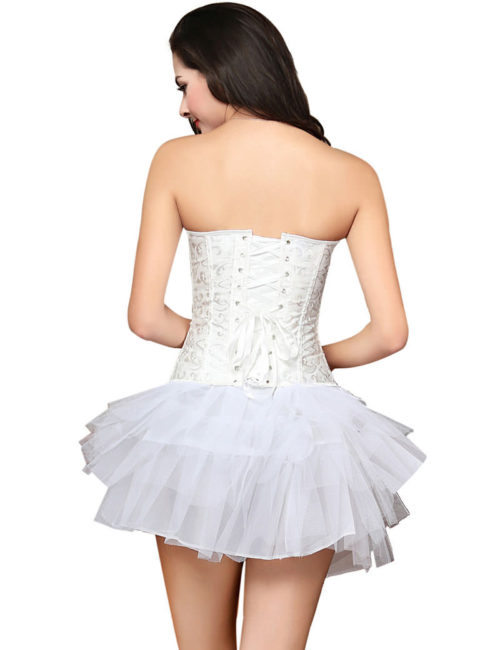 Everbellus Womens Sexy Overbust Wedding Waist Corset Satin Bustiers Top W3