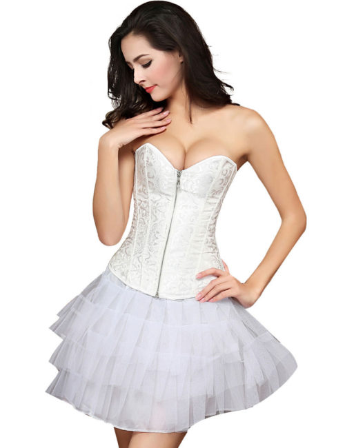 Everbellus Womens Zipper Front Corset Wedding Waist Corset Sexy Bustiers Top W2