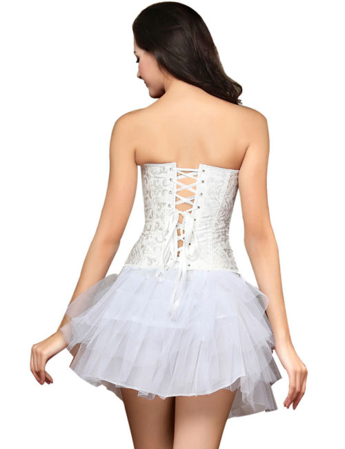 Everbellus Womens Zipper Front Corset Wedding Waist Corset Sexy Bustiers Top W3