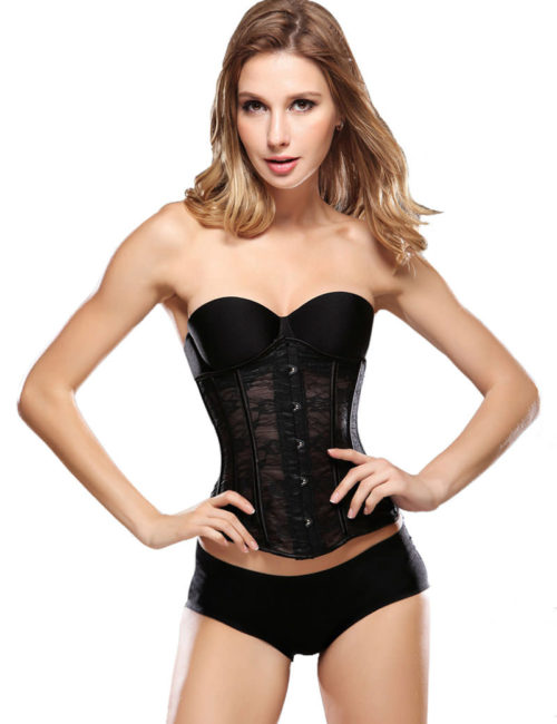 Everbellus Womens Breathable Waist Cincher Corset Steel Boned Shapewear B1 1