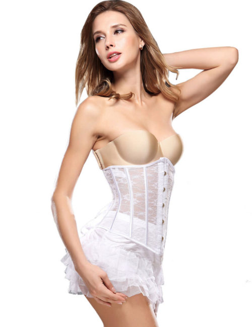 Everbellus Womens Breathable Waist Cincher Corset Steel Boned Shapewear W2