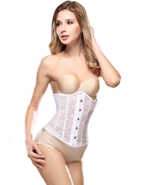 Everbellus Womens Breathable Waist Cincher Corset Steel Boned Shapewear W3