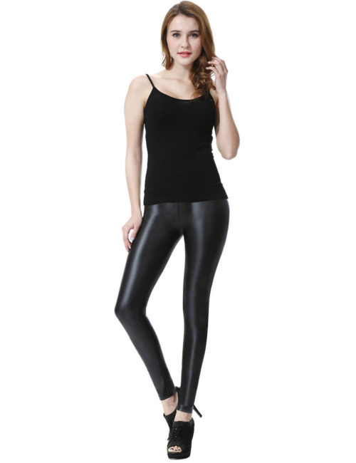 Everbellus Sexy Womens Faux Leather High Waisted Leggings B1