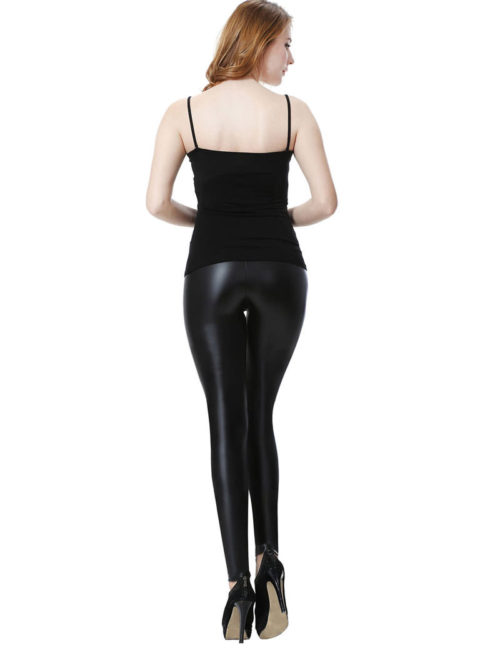 Everbellus Sexy Womens Faux Leather High Waisted Leggings B3