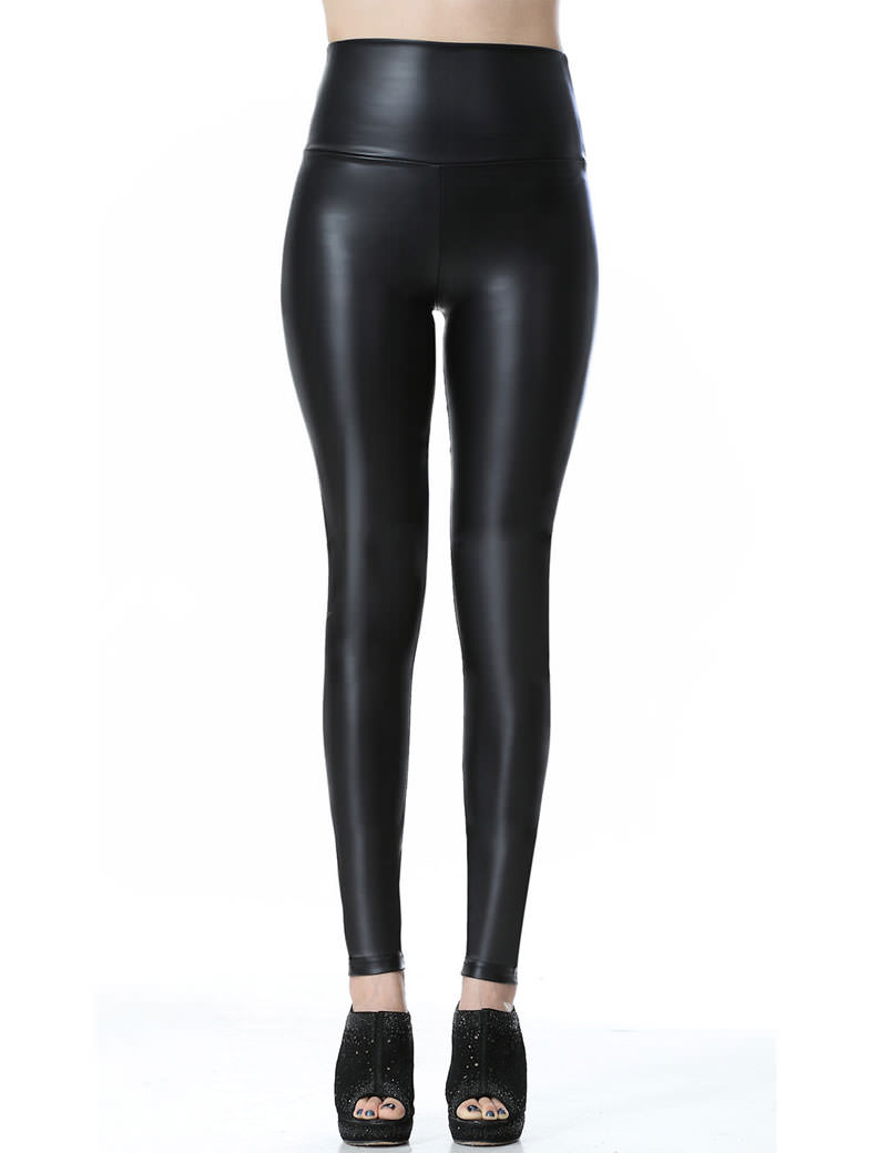 Everbellus Sexy Womens Faux Leather High Waisted Leggings B4