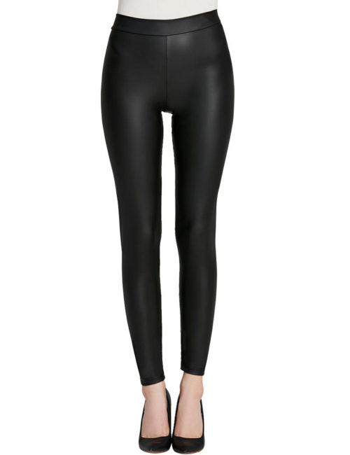Everbellus Women Sexy Faux Leather Leggings with Pockets Skinny Leather Pants Black 1