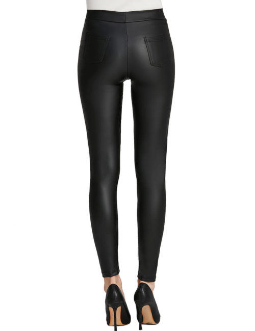 Everbellus Women Sexy Faux Leather Leggings with Pockets Skinny Leather Pants Black 3