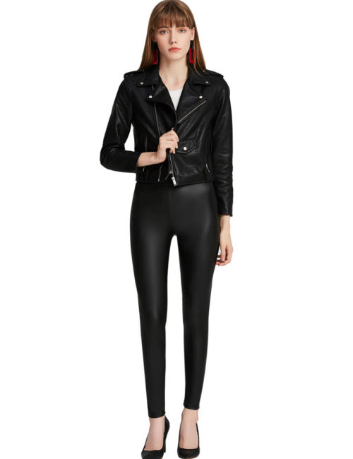 Everbellus Women Sexy Faux Leather Leggings with Pockets Skinny Leather Pants Black 4