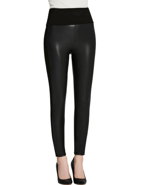 Everbellus Womens Black Faux Leather Leggings Girls High Waisted Sexy Leather Pants 2