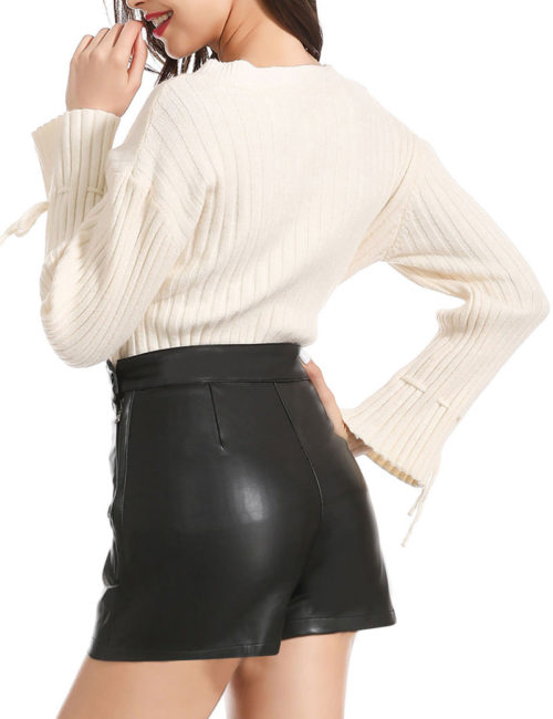 Everbellus Black Leather Leggings for Women Tummy Control Stretchy Leather Pants 4